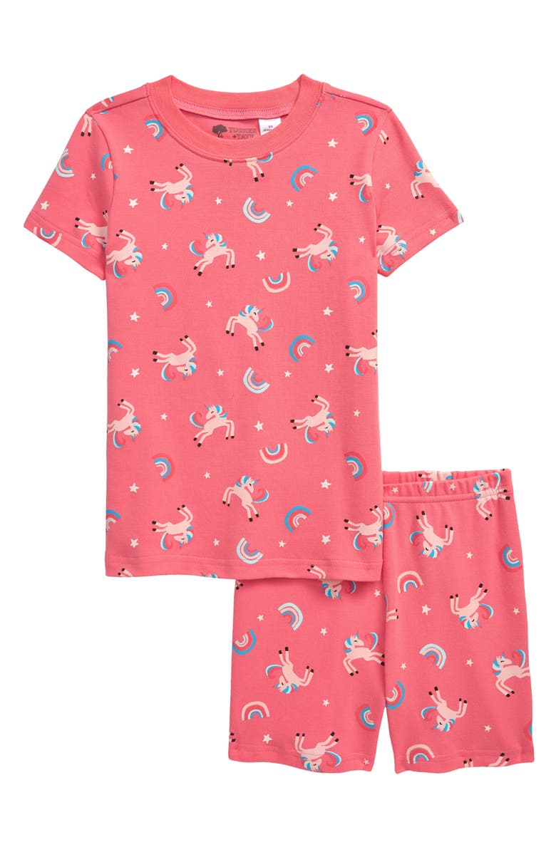 TUCKER + TATE Kids' Glow in the Dark Fitted Two-Piece Pajamas, Main, color, PINK STRAWBERRY UNICORN GLOW