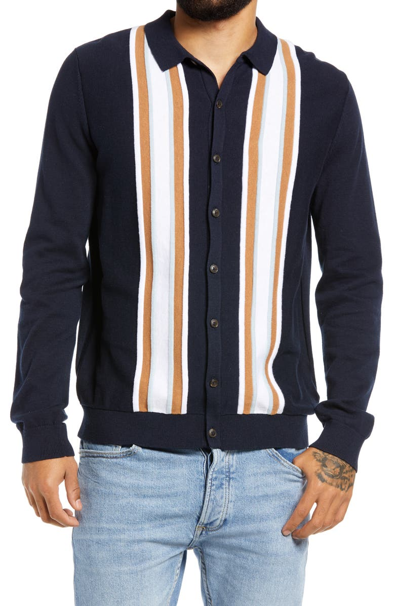 TOPMAN Stripe Button-Up Sweater, Main, color, NAVY BLUE