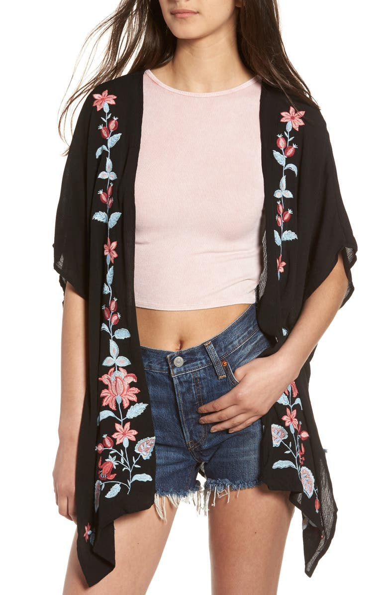 CHLOE & KATIE Floral Embroidered Kimono, Main, color, 001
