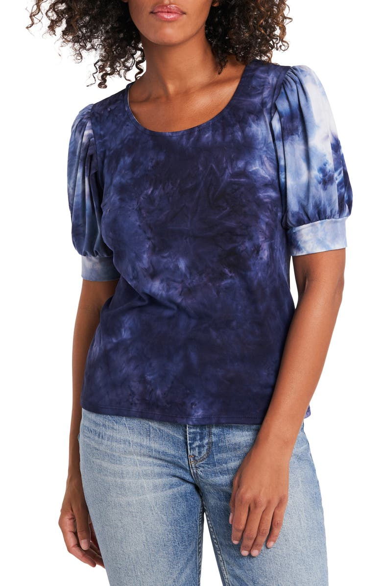 1.STATE Puff Sleeve Tie Dye Top, Main, color, NAVY GREY