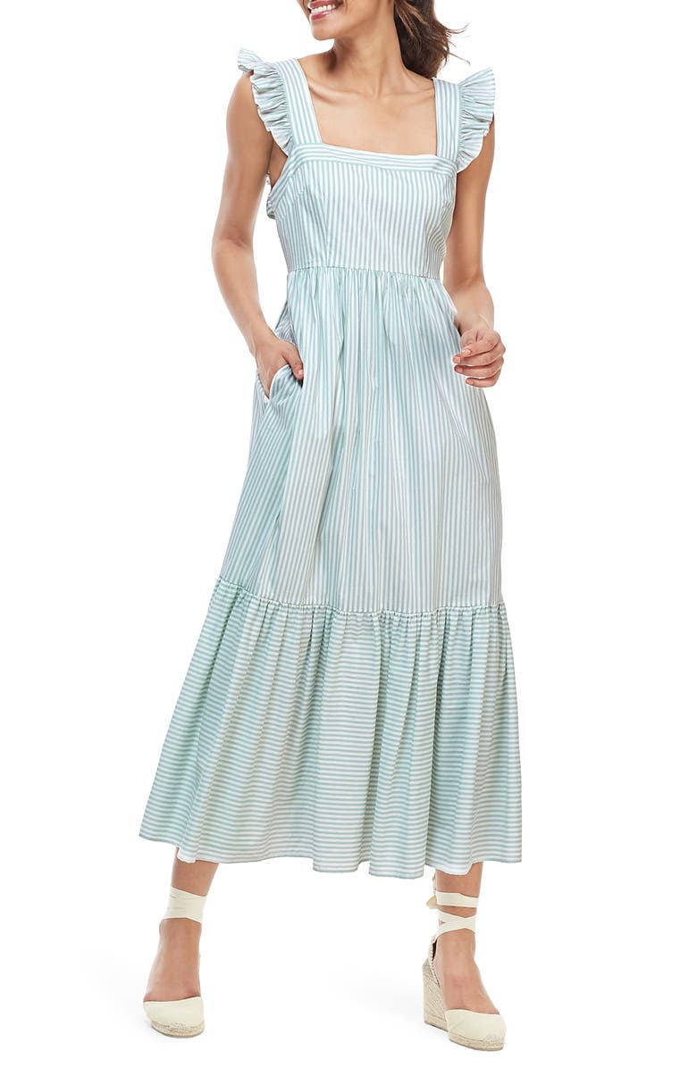 GAL MEETS GLAM COLLECTION Jasmine Stripe Square Neck Maxi Sundress, Main, color, 339
