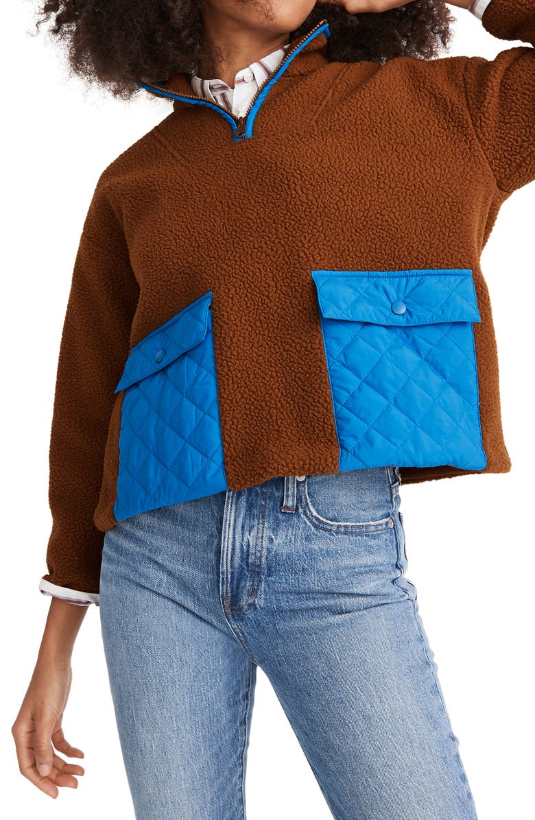 MADEWELL (Re)sourced Fleece Quilted Pocket Popover Jacket, Main, color, DRIED CEDAR