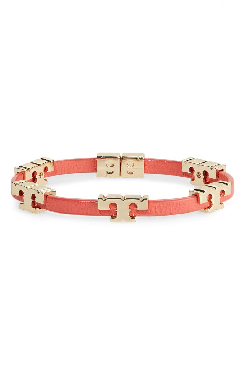 TORY BURCH Serif-T Croc-Embossed Leather Single Wrap Bracelet, Main, color, TORY GOLD / CANYON FLOWER