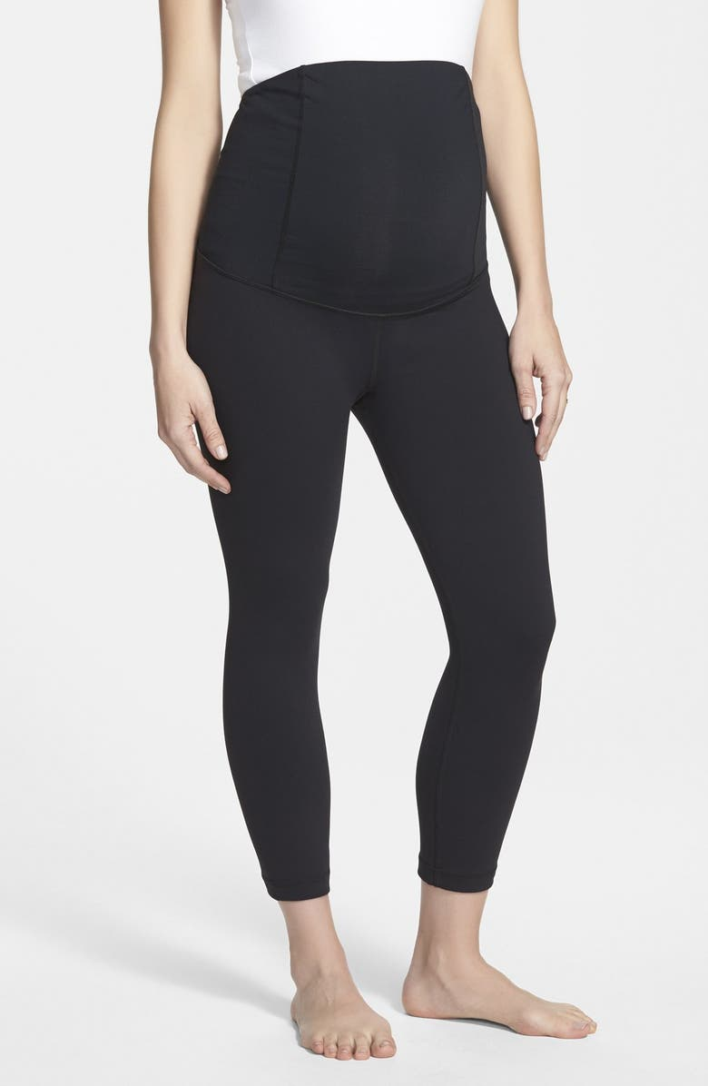 INGRID & ISABEL<SUP>®</SUP> Active Maternity Capri Pants with Crossover Panel, Main, color, JET BLACK