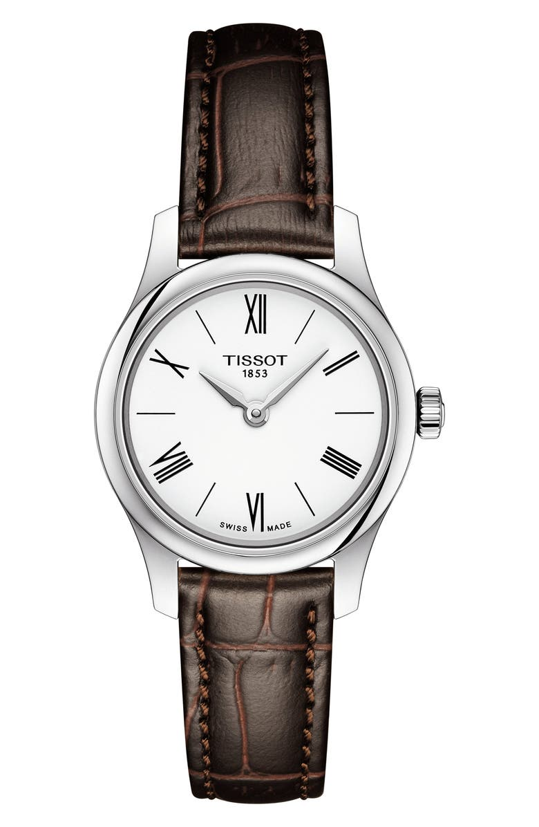 TISSOT Tradition 5.5 Lady Round Bracelet Watch, 25mm, Main, color, BROWN/ WHITE/ SILVER