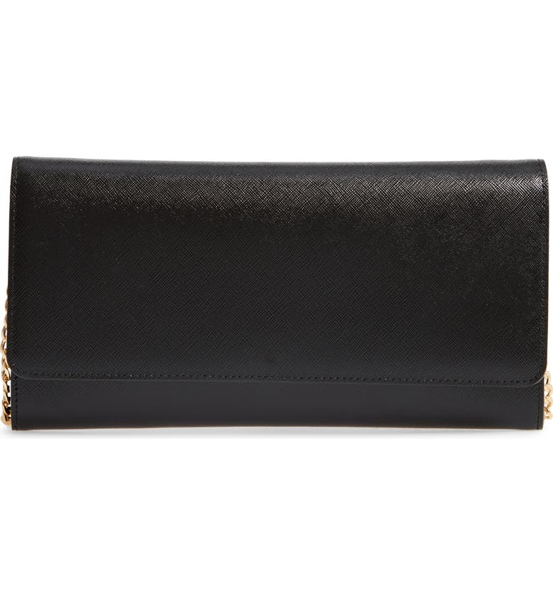 NORDSTROM Selena Leather Clutch, Main, color, BLACK