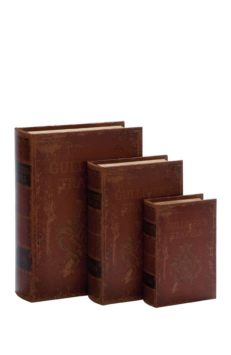 WILLOW ROW Multi Rustic Gulliver'S Travels Leather-Covered Wooden Book Box - Set of 3, Main, color, MULTI