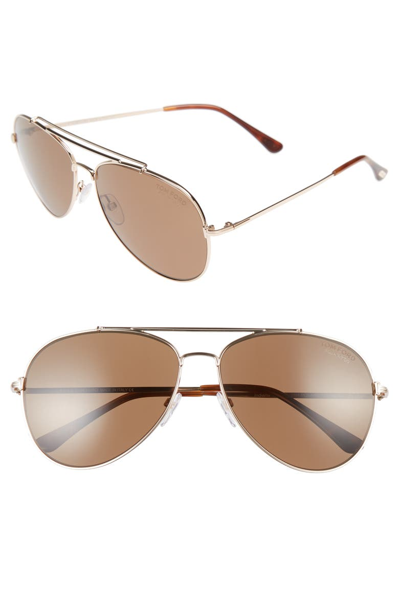 TOM FORD Indiana 60mm Polarized Aviator Sunglasses, Main, color, SHINY ROSE GOLD/ LIGHT BROWN