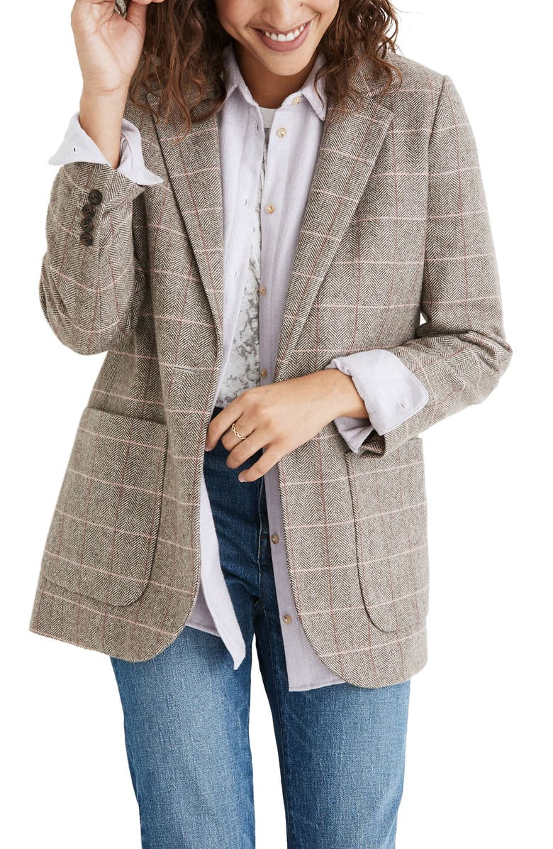 MADEWELL Woodhull Plaid Blazer, Main, color, HERRINGBNE WINDW WEATH GROVE