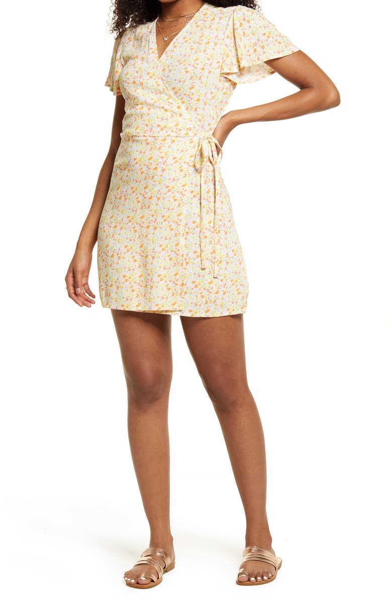BP. Floral Print Wrap Dress, Main, color, PINK- YELLOW MAISEY DITSY