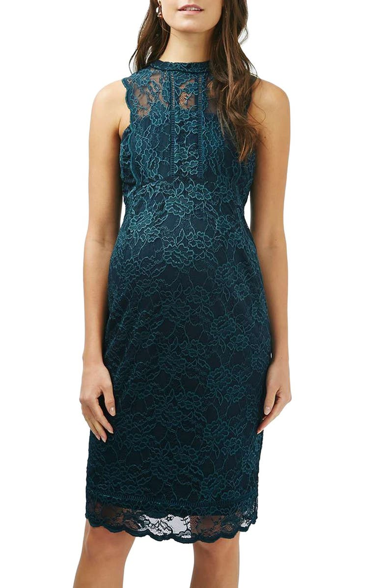 TOPSHOP Lace Body-Con Maternity Dress, Main, color, TEAL