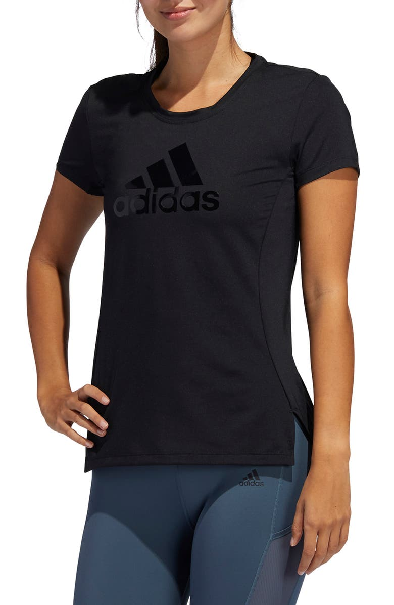 ADIDAS Glam On T-Shirt, Main, color, 001