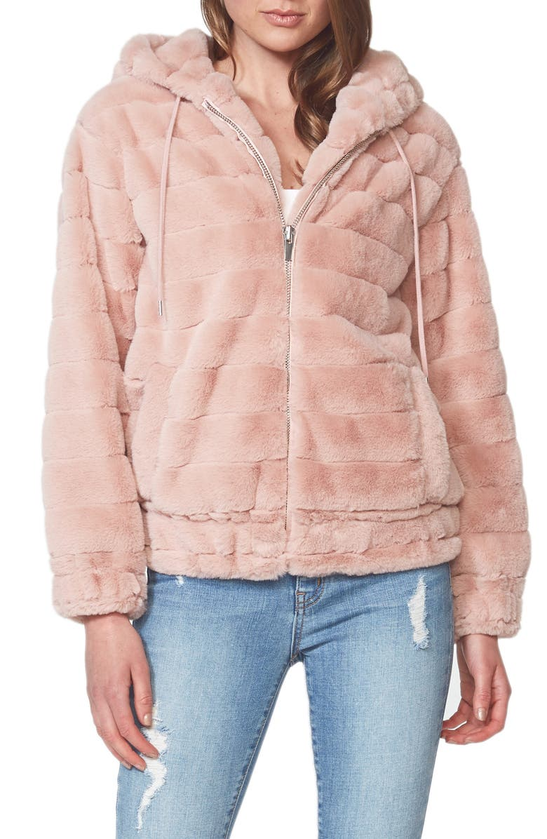 BARDOT Hooded Faux Fur Jacket, Main, color, 650