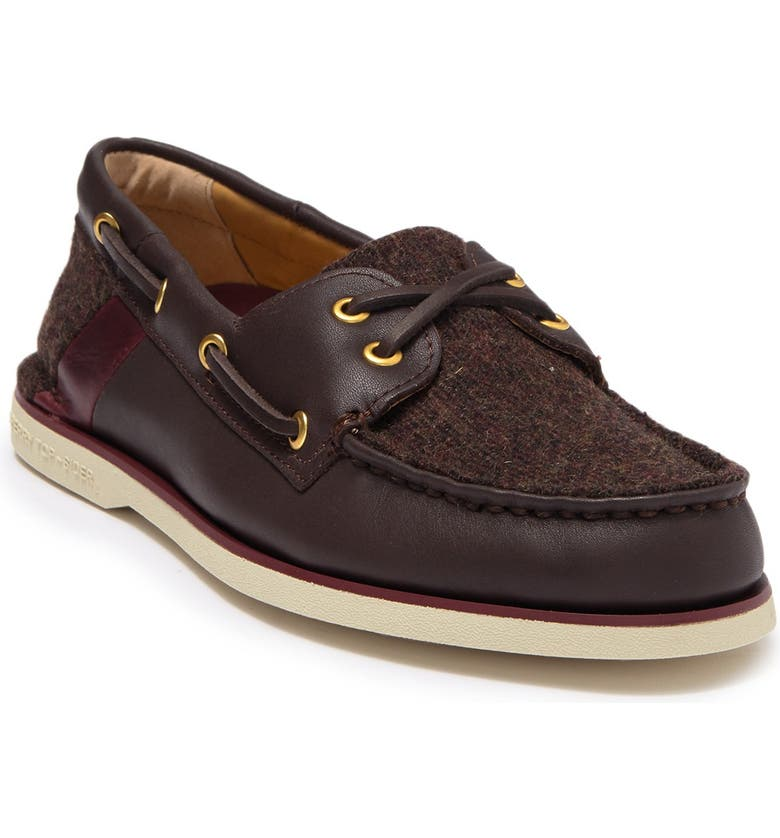 SPERRY TOP-SIDER Gold 2-Eye Lace Up Tweed Boat Shoe, Main, color, BROWN