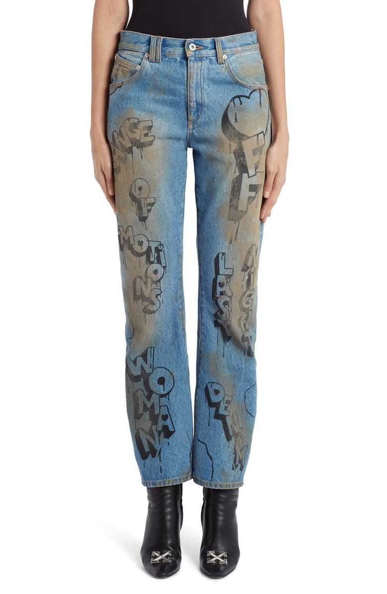 OFF-WHITE Graffiti Baggy Wide Leg Jeans, Main, color, 400