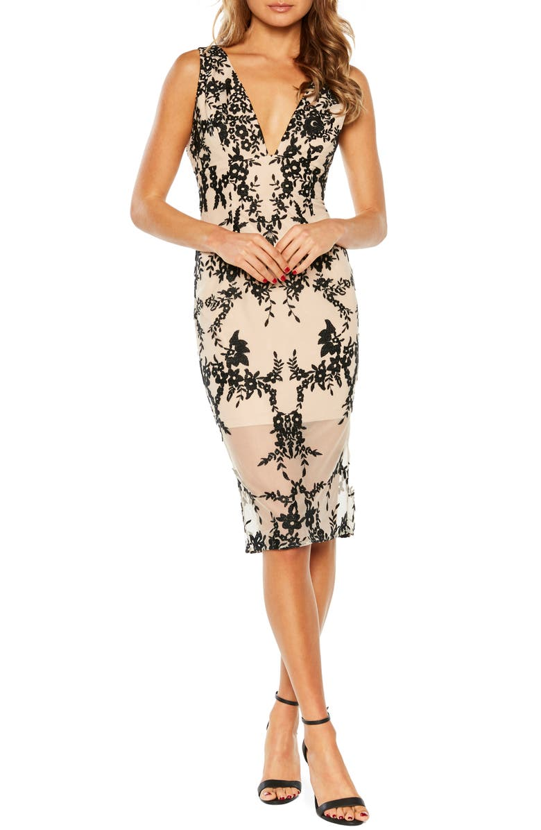 BARDOT Floral Embroidered Sheath Dress, Main, color, 001
