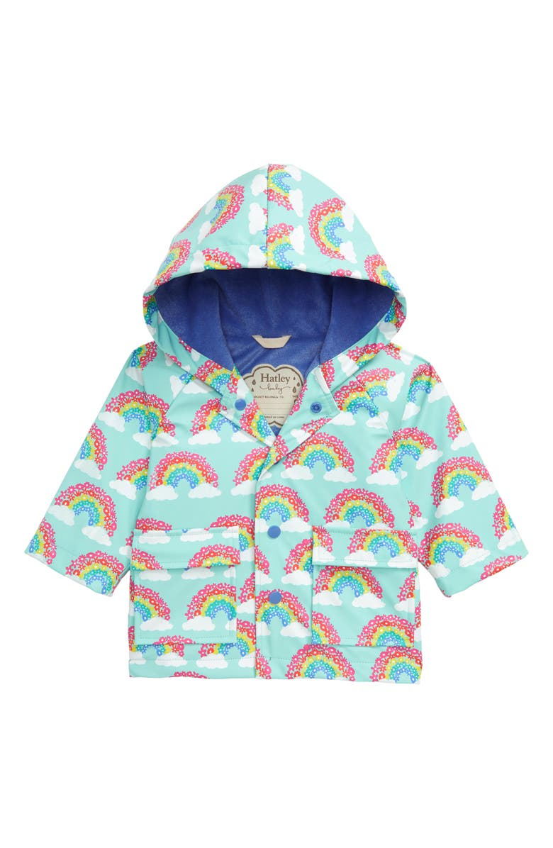 HATLEY Magical Rainbows Waterproof Hooded Raincoat, Main, color, 440