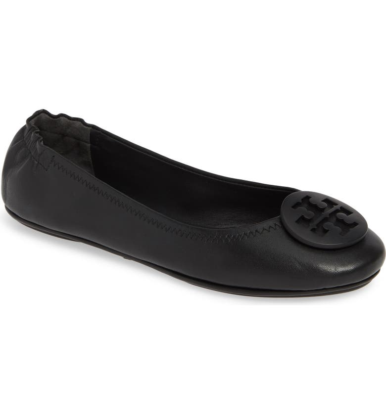 TORY BURCH Minnie Travel Ballet Flat, Main, color, PERFECT BLACK