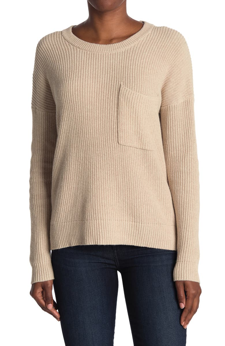 MADEWELL Thompson Pocket Pullover Sweater, Main, color, HEATHER FAWN