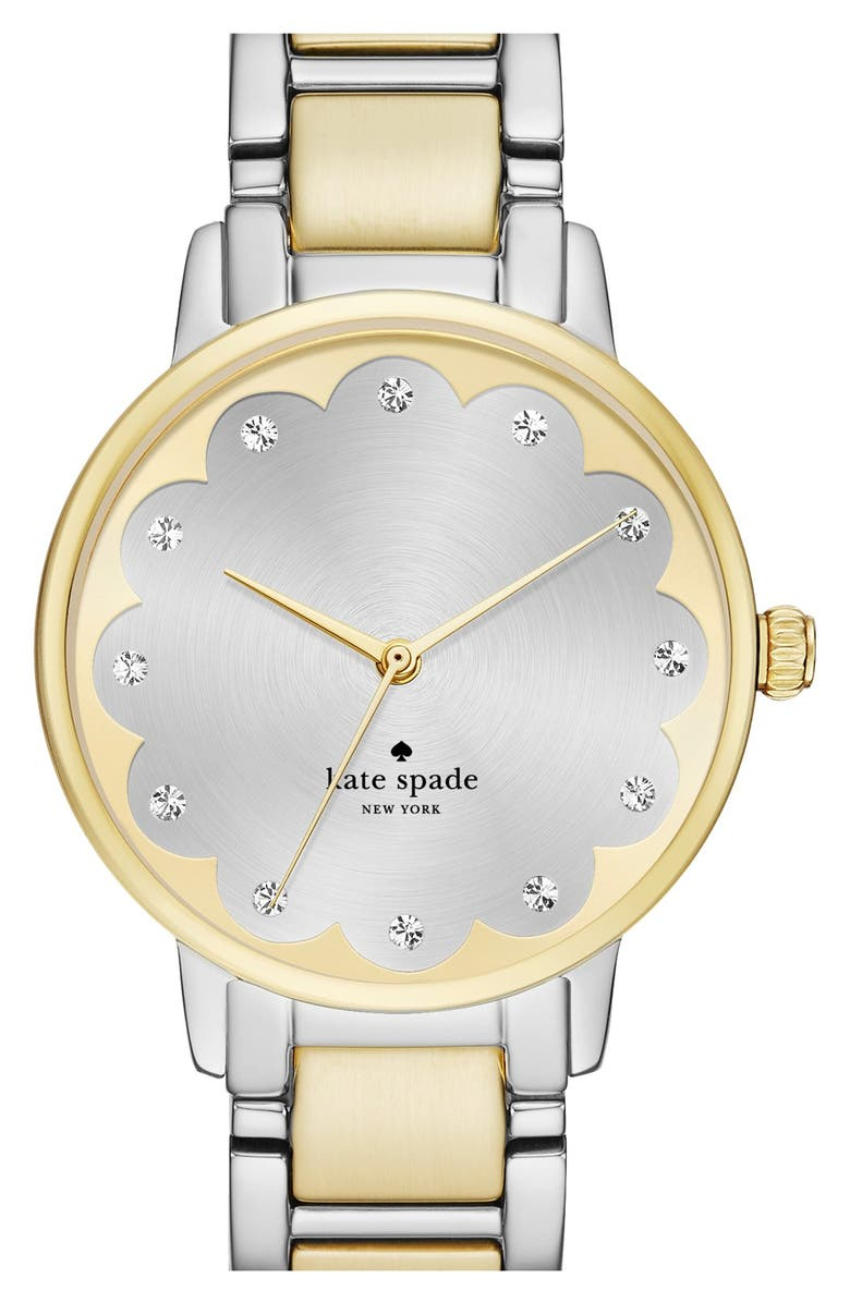 KATE SPADE NEW YORK 'gramercy' scalloped dial bracelet watch, 34mm, Main, color, GOLD/ SILVER
