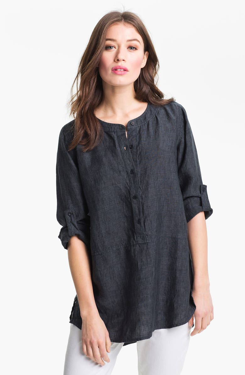 EILEEN FISHER Washed Linen Tunic, Main, color, DENIM