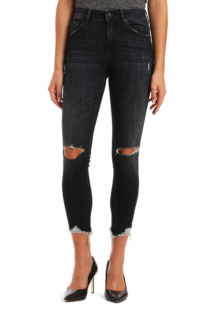 MAVI JEANS Tess High Waist Ripped Ankle Skinny Jeans, Main, color, SMOKEY DEEP TRIBECA