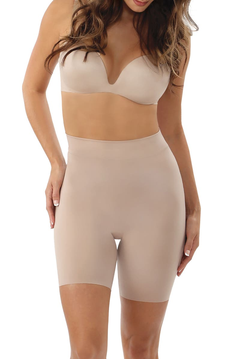 BELLY BANDIT<SUP>®</SUP> Mother Tucker Shortie High Waist Compression Shorts, Main, color, NUDE