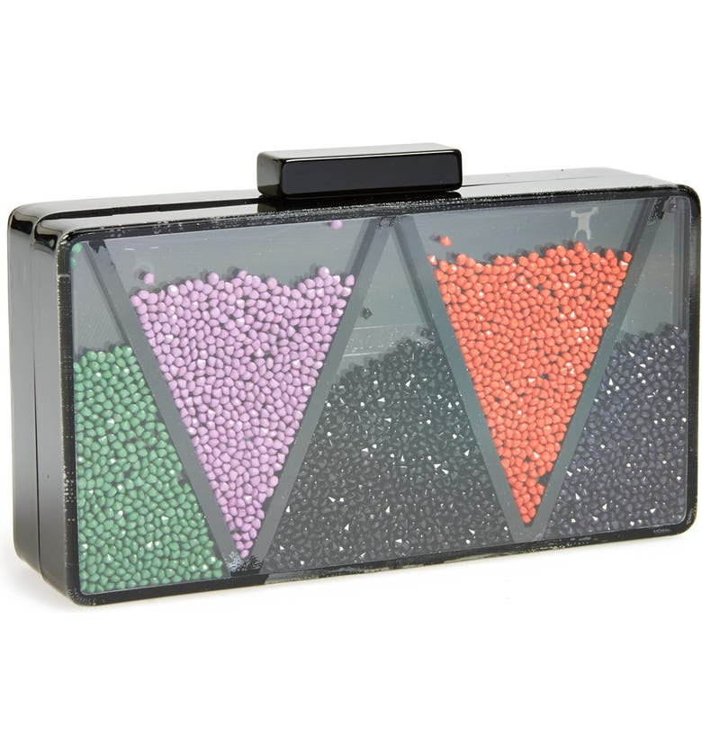 SR SQUARED BY SONDRA ROBERTS Lucite<sup>®</sup> Loose Bead Clutch, Main, color, BLACK MULTI