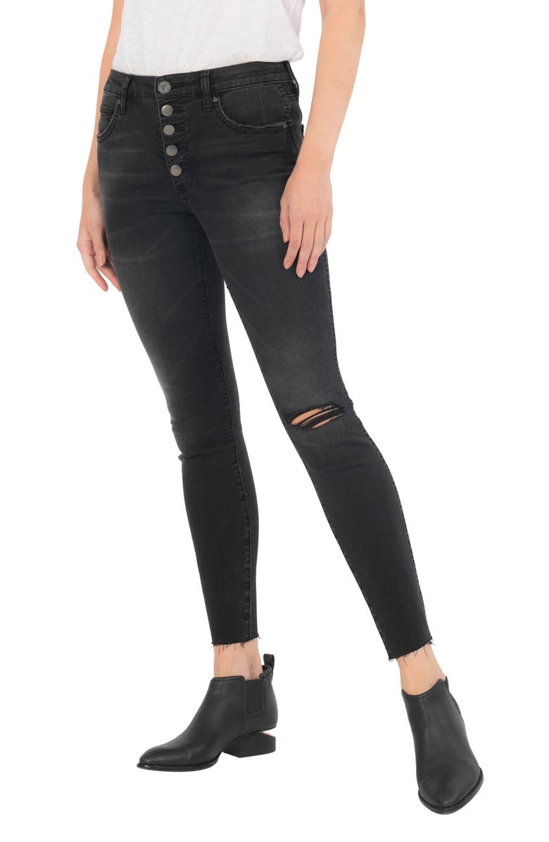KUT FROM THE KLOTH Donna Fab Ab Exposed Button Raw Hem Ankle Skinny Jeans, Main, color, JUDGMENT
