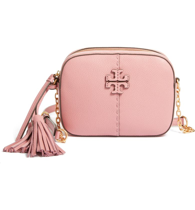 TORY BURCH McGraw Leather Camera Bag, Main, color, PINK MAGNOLIA