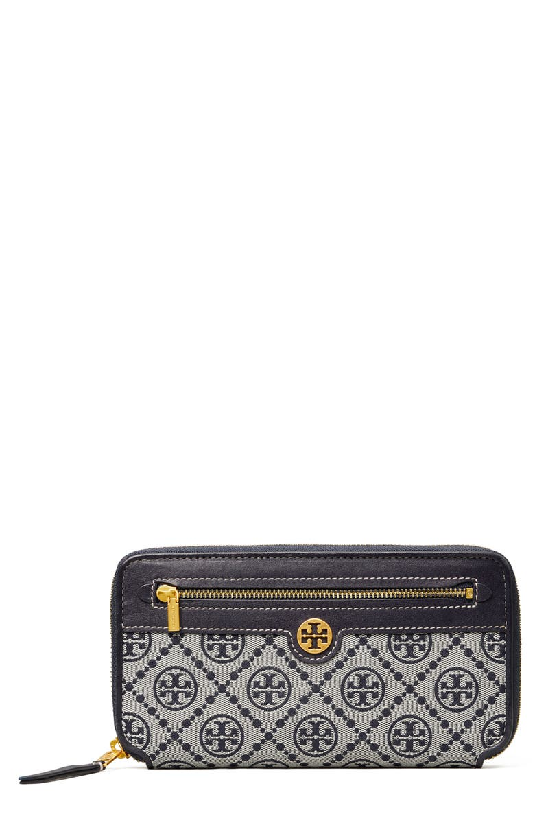TORY BURCH Tory Buch T Monogram Jacquard Continental Wallet, Main, color, TORY NAVY