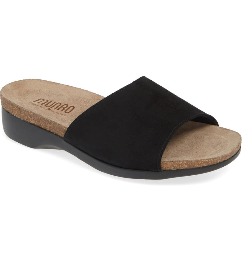 MUNRO Laya Slide Sandal, Main, color, BLACK SUEDE