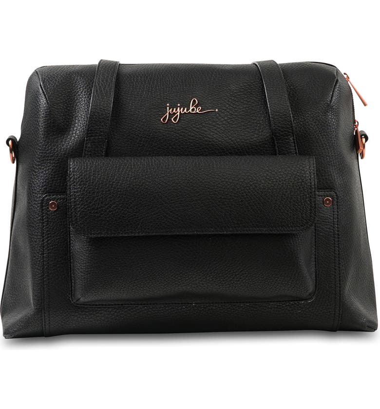 JU-JU-BE Ever Collection Wherever Faux Leather Weekend Diaper Bag, Main, color, NOIR ROSE