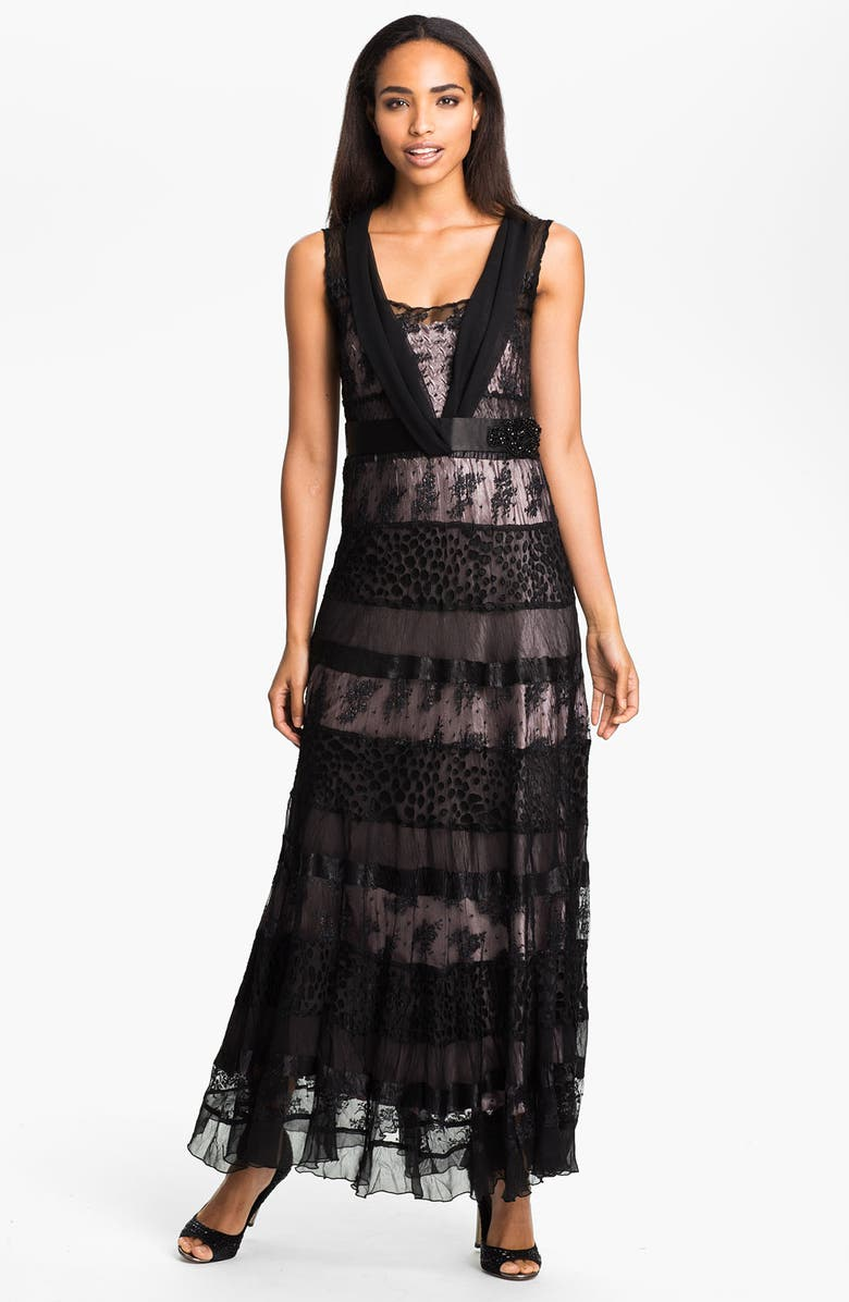 BLACK BY KOMAROV V-Neck Tiered Mixed Media Gown, Main, color, 001