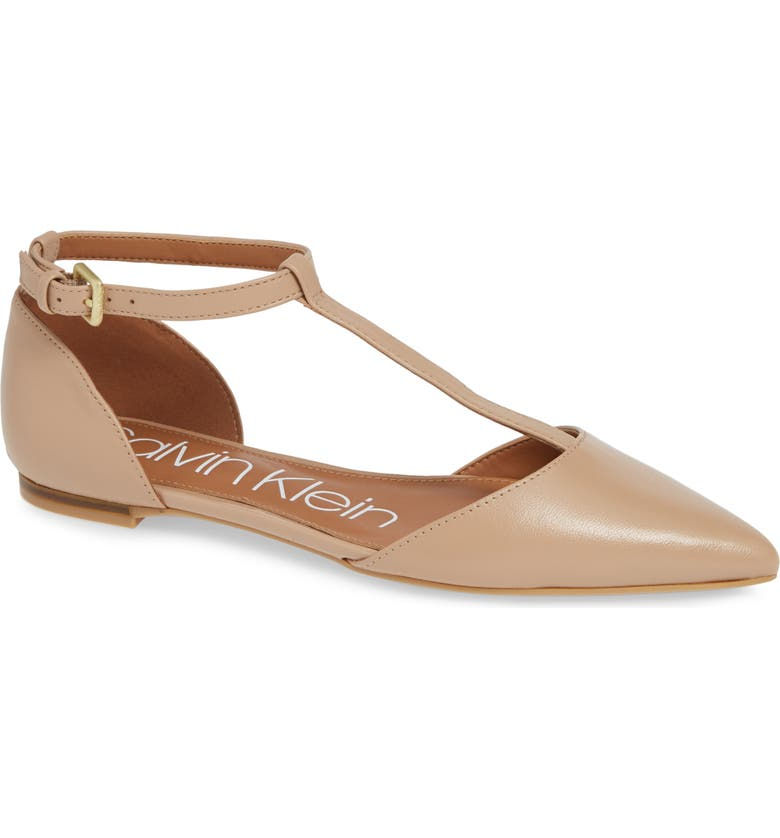 CALVIN KLEIN 'Ghita' T-Strap Flat, Main, color, DESERT SAND LEATHER