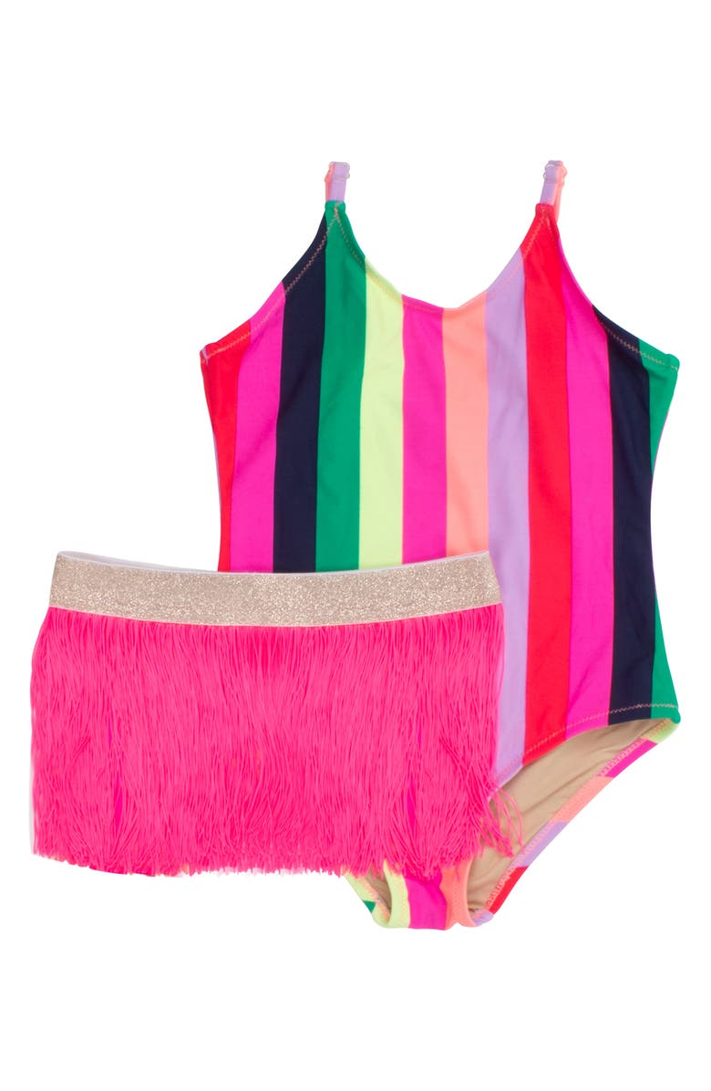 SHADE CRITTERS Stripe One-Piece Swimsuit with Fringe Skirt, Main, color, MULTI