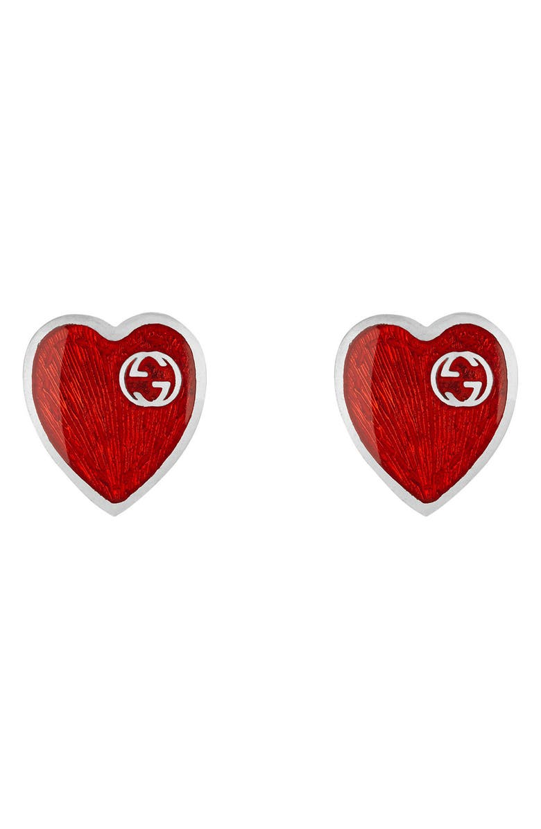 GUCCI Extra Small Interlocking-G Red Heart Stud Earrings, Main, color, SILVER/ RED