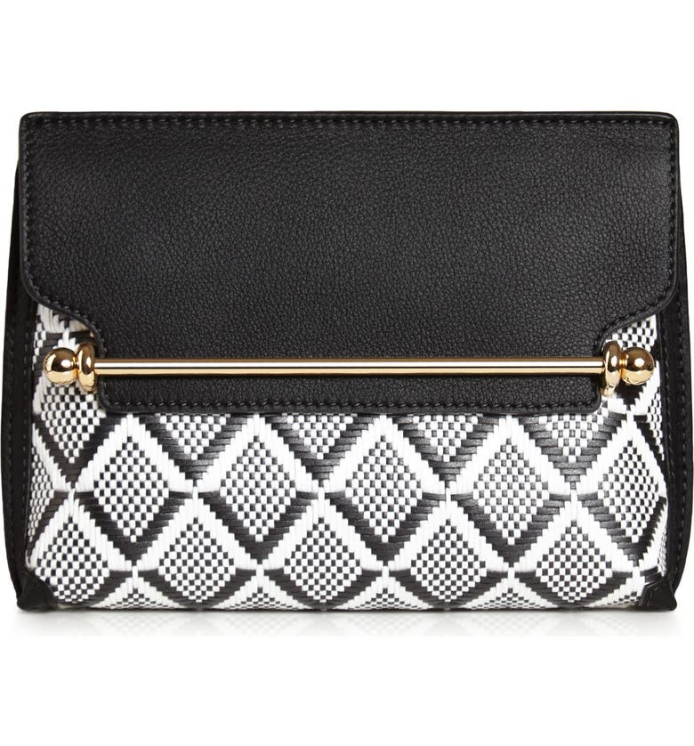 STRATHBERRY Monochrome Weave Mini Stylist Leather Convertible Clutch, Main, color, 001