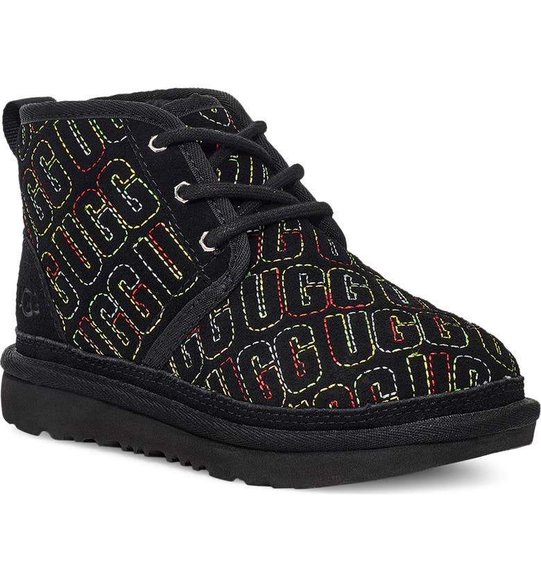 UGG<SUP>®</SUP> Kids' Neumel II Graphic Stitch Bootie, Main, color, BLACK