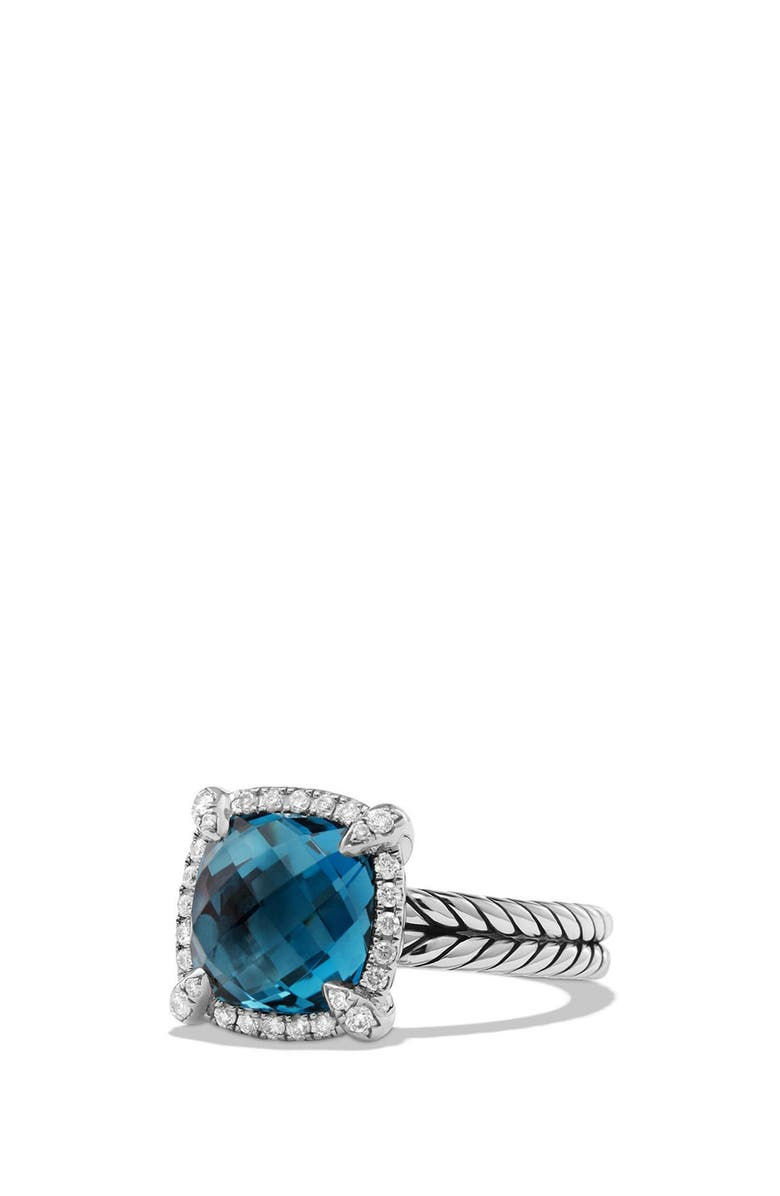 DAVID YURMAN Châtelaine Small Pavé Bezel Ring with Diamonds, Main, color, BLUE TOPAZ