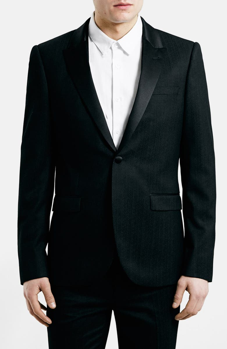 TOPMAN Black Textured Skinny Fit Tuxedo Jacket, Main, color, 001