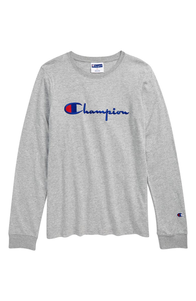 CHAMPION Kids' Embroidered Signature Script Long Sleeve T-Shirt, Main, color, OXFORD HEATHER