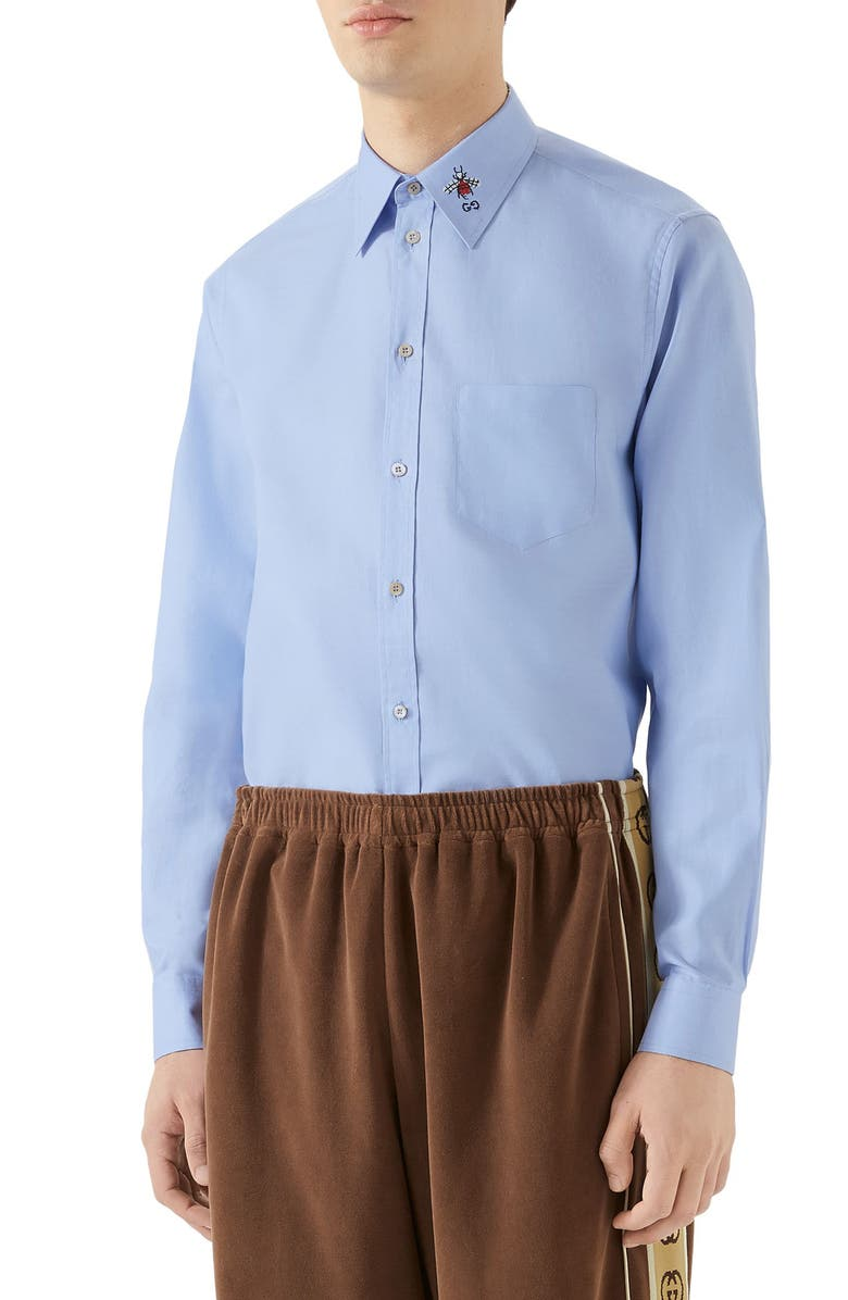 GUCCI Bee & GG Embroidered Boxy Fit Oxford Shirt, Main, color, 452