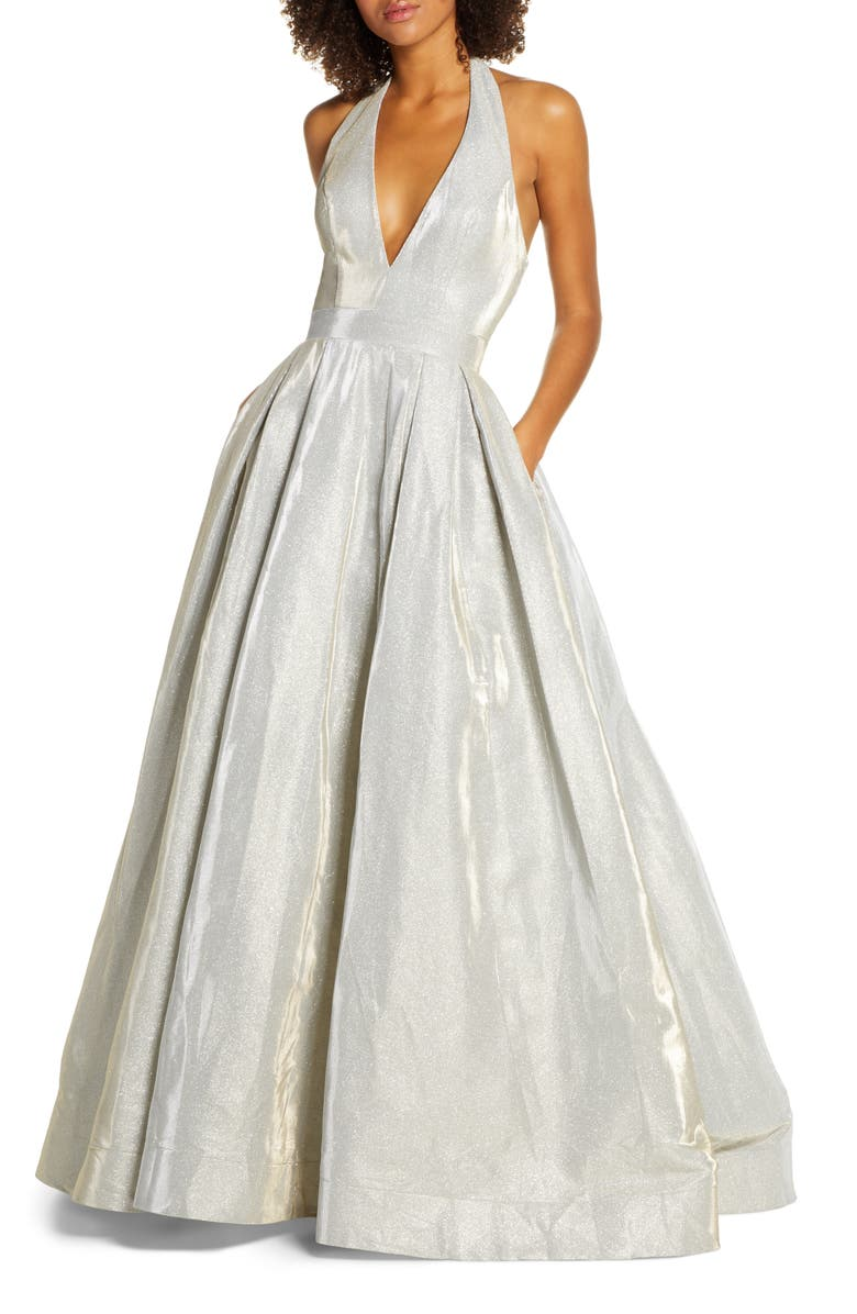 IEENA FOR MAC DUGGAL Mac Duggal Shimmering Halter Neck Ballgown, Main, color, WHITE ICE