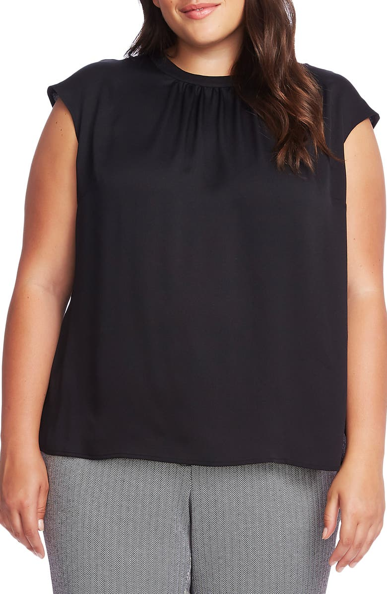 VINCE CAMUTO Cap Sleeve Satin Top, Main, color, 001