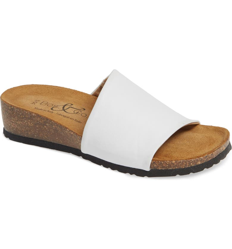 BOS. & CO. Lux Slide Sandal, Main, color, WHITE NAPPA LEATHER