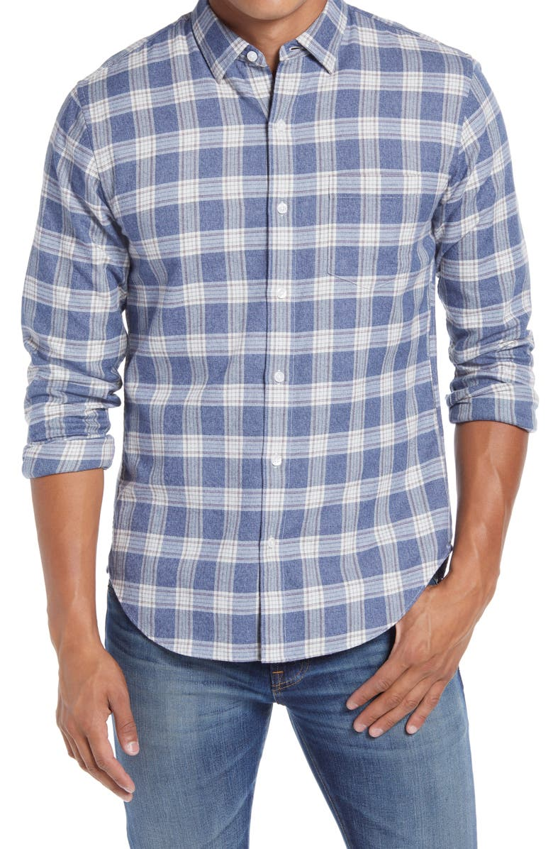 BONOBOS Slim Fit Plaid Button-Down Shirt, Main, color, JASPER PLAID - TWILIGHT