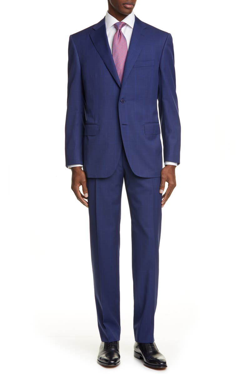 CANALI Sienna Soft Windowpane Classic Fit Wool Suit, Main, color, 400