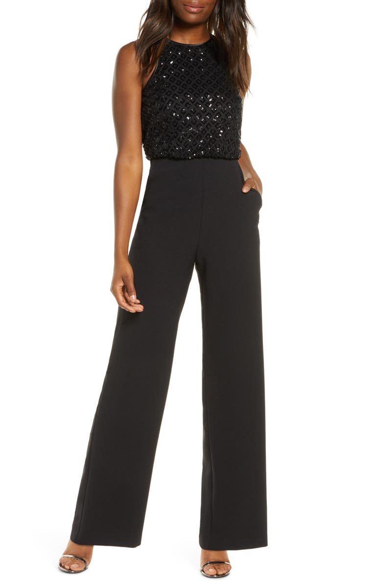 ELIZA J Sequin Bodice Jumpsuit, Main, color, 001