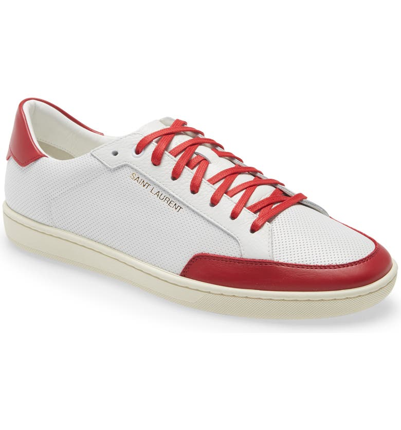 SAINT LAURENT Court Classic SL/10 Low Top Sneaker, Main, color, WHITE/ RED